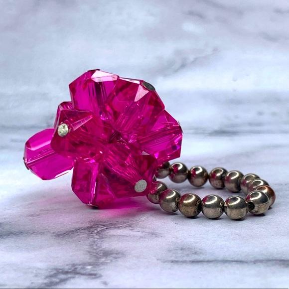 Tarina Tarantino Pink Crystal Cluster Stretch Ring